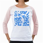 Blue summer design Girly Raglans Front