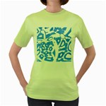 Blue summer design Women s Green T-Shirt Front