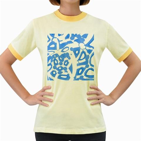 Blue summer design Women s Fitted Ringer T-Shirts