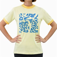 Blue Summer Design Women s Fitted Ringer T Shirts