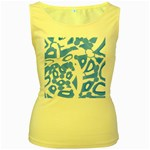Blue summer design Women s Yellow Tank Top Front