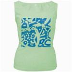 Blue summer design Women s Green Tank Top Front