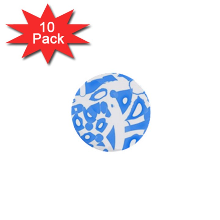 Blue summer design 1  Mini Buttons (10 pack)