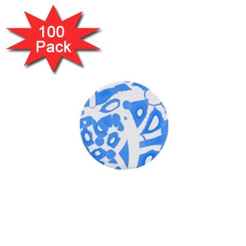 Blue summer design 1  Mini Buttons (100 pack)