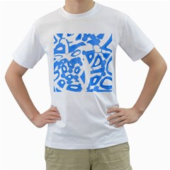 Blue summer design Men s T-Shirt (White) (Two Sided)