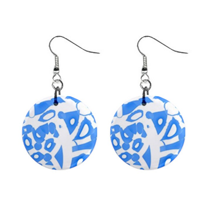 Blue summer design Mini Button Earrings