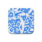 Blue summer design Rubber Coaster (Square)  Front