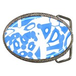 Blue summer design Belt Buckles Front