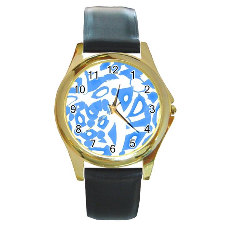 Blue summer design Round Gold Metal Watch