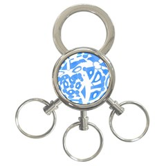 Blue Summer Design 3 Ring Key Chains