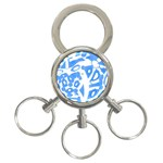 Blue summer design 3-Ring Key Chains Front