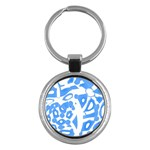 Blue summer design Key Chains (Round)  Front
