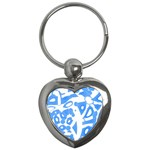 Blue summer design Key Chains (Heart)  Front
