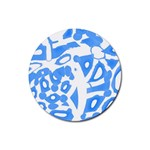Blue summer design Rubber Coaster (Round)  Front
