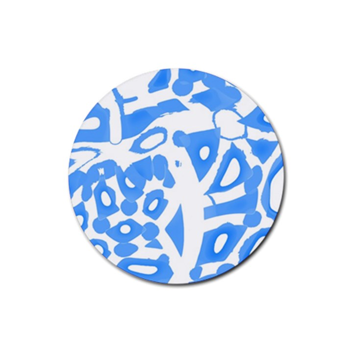 Blue summer design Rubber Coaster (Round)