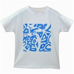 Blue summer design Kids White T-Shirts Front