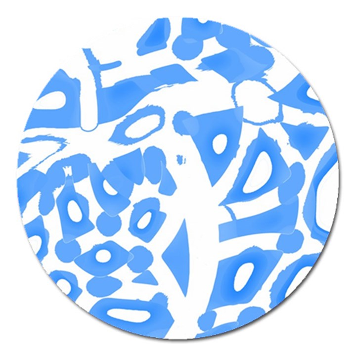 Blue summer design Magnet 5  (Round)