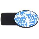 Blue summer design USB Flash Drive Oval (1 GB)  Front