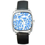 Blue summer design Square Metal Watch Front