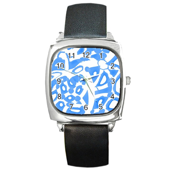 Blue summer design Square Metal Watch