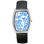 Blue summer design Barrel Style Metal Watch Front