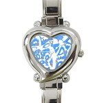 Blue summer design Heart Italian Charm Watch Front