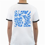 Blue summer design Ringer T-Shirts Back