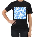 Blue summer design Women s T-Shirt (Black) (Two Sided) Front