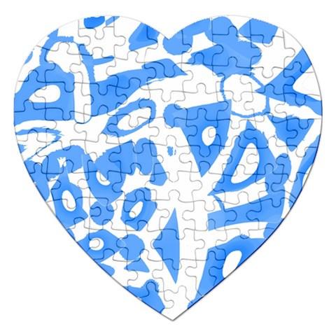 Blue summer design Jigsaw Puzzle (Heart)