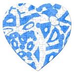 Blue summer design Jigsaw Puzzle (Heart) Front