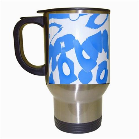 Blue summer design Travel Mugs (White)