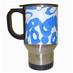 Blue summer design Travel Mugs (White) Left
