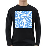 Blue summer design Long Sleeve Dark T-Shirts Front