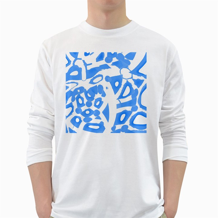 Blue summer design White Long Sleeve T-Shirts