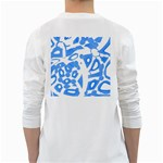 Blue summer design White Long Sleeve T-Shirts Back
