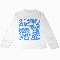 Blue summer design Kids Long Sleeve T-Shirts