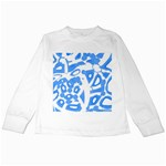 Blue summer design Kids Long Sleeve T-Shirts Front
