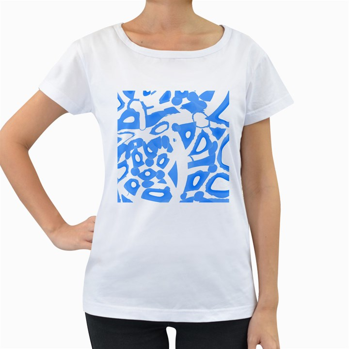Blue summer design Women s Loose-Fit T-Shirt (White)