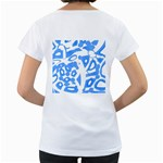 Blue summer design Women s Loose-Fit T-Shirt (White) Back