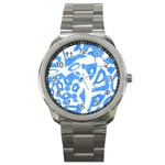 Blue summer design Sport Metal Watch Front