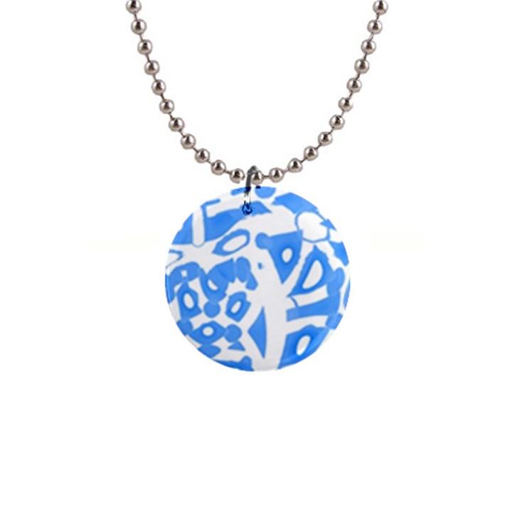 Blue summer design Button Necklaces