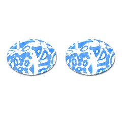 Blue summer design Cufflinks (Oval)