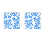 Blue summer design Cufflinks (Square) Front