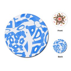 Blue summer design Playing Cards (Round)