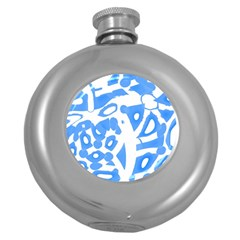 Blue Summer Design Round Hip Flask (5 Oz)