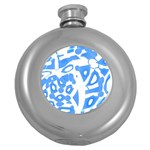 Blue summer design Round Hip Flask (5 oz) Front