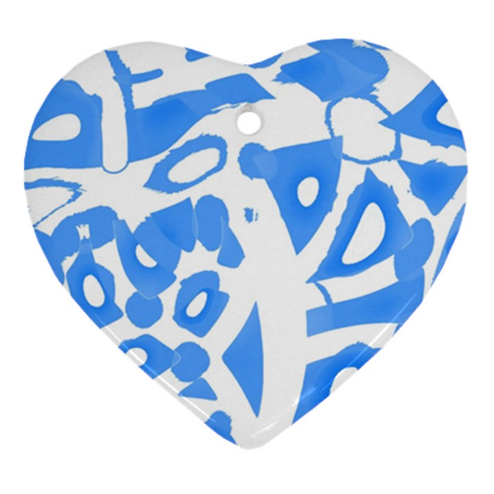 Blue summer design Heart Ornament (2 Sides)