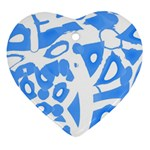 Blue summer design Heart Ornament (2 Sides) Back