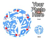 Blue summer design Playing Cards 54 (Round)  Front - Heart7