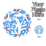 Blue summer design Playing Cards 54 (Round)  Front - Diamond9